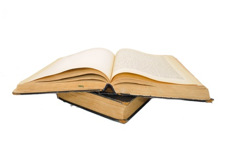 bibliomania: Outdated big books. Isolated on white background Stock Photo