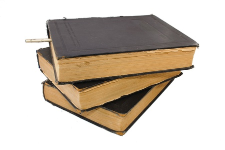 the outdated: Outdated big books. Isolated on white background Stock Photo