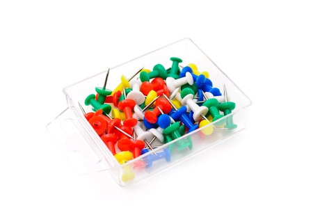 Colored plastic pins. Isolated on white background Stock Photo - 9848387