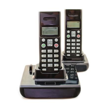 Black wireless phones. Isolated on white background Stock Photo - 9848445