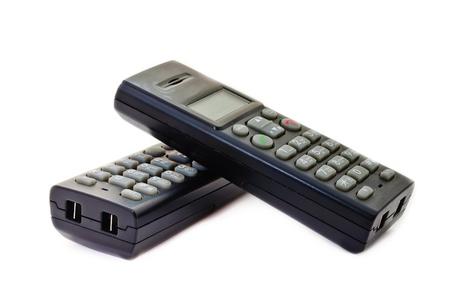 Black wireless phones. Isolated on white background photo
