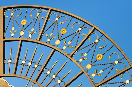Metal forged grille gate. Against the blue sky photo