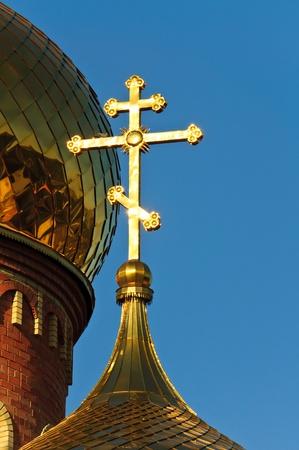 The church against the blue sky. Summer blue sky Orthodox Church Stock Photo