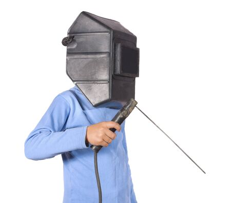 Boy in a mask with electric welding. Isolated on white background