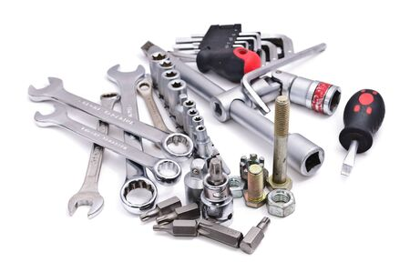 Wrenches of various sizes. Isolated on white background Standard-Bild