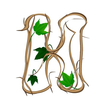 One letter of the alphabet vector tree branches Vector