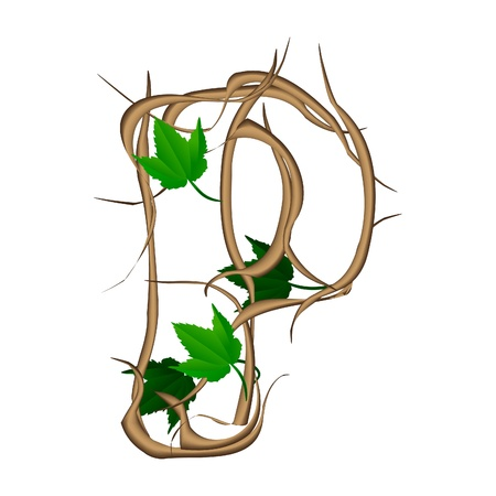One letter of the alphabet vector tree branches