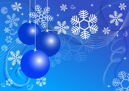 Christmas Balls and snowflakes on a blue background Stock Vector - 11217152