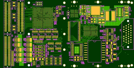 The printed circuit board. Without electronic components Vector