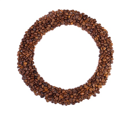 Coffee beans. Background in the form of a handful of coffee beans on white background