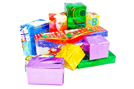 Christmas gifts for the whole family. Multi-colored boxes that are packed gifts photo