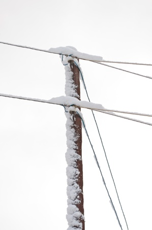 Reliance electric cable in the snow Stock Photo - 12044264