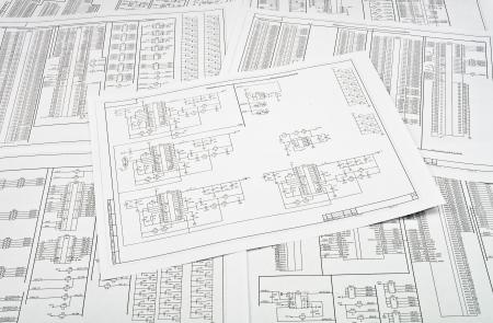 ingenieur electricien: Contexte de plusieurs circuits �lectriques imprim�s sur du papier Banque d'images