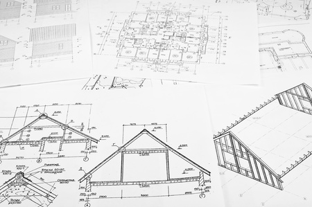 Sketches of the buildings on paper photo