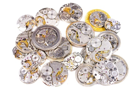 reloj de pendulo: La reparaci�n de relojes. Aislado sobre fondo blanco Foto de archivo