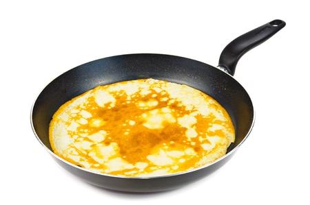 Pancake in a frying pan. Photos isolated on white background photo