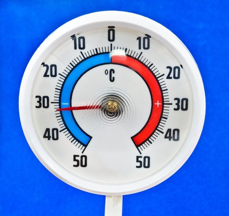 Outdoor thermometer. Photos on a blue background photo