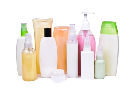 personal hygiene: A bottle of shampoo  Photos isolated on white background