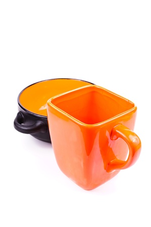 Mug and plate. The photo on white background photo