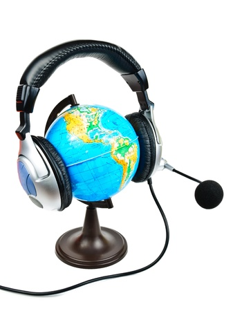 Globe with earphones. The photo on white background