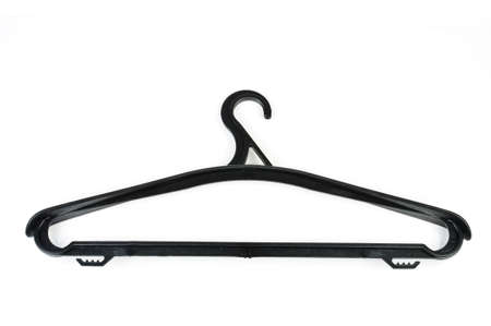 Plastic clothes hanger. Photo isolated on white background photo