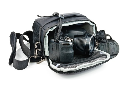 Black bag for the camera. Photo isolated on white background