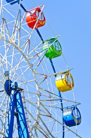 Detail of Ferris wheel. Photo on blue sky background photo