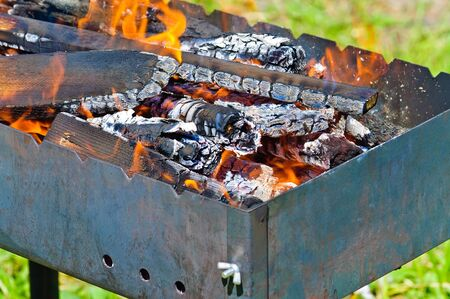 whiff: Firewood in the brazier. Fire closeup