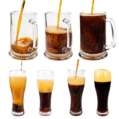 unstrained: Dark beer. Photo pour beer into a glass  Stock Photo