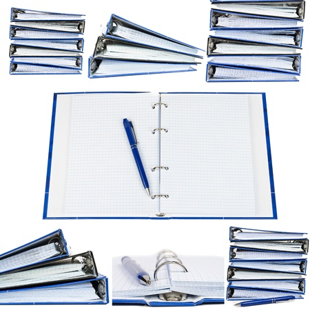 Stack of notebooks. Photos on white background  photo