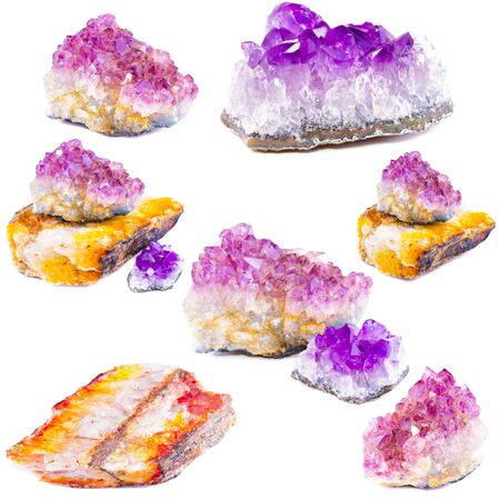 Mineral amethyst  Isolated on white background Stock Photo