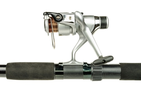 The telescopic fishing rod and reel  The photo on white background photo