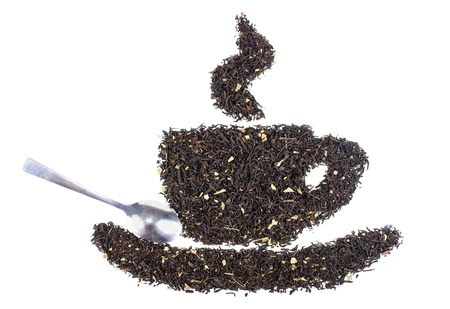 Drawing from the dry tea leaves  The photo on white background