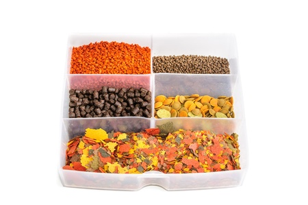 coldwater: Dry food for aquarium fish  The photo on white background