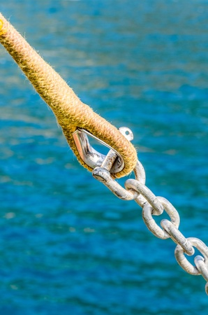 Rigging the sailing yacht. Photo Close-up