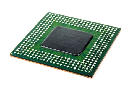 Processor with ball BGA pins  Photo Close-up Standard-Bild