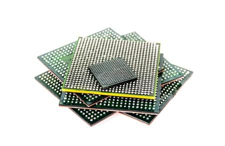 Processor with ball BGA pins  Photo Close-up Stock Photo