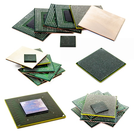 microprocessor: Processor with ball BGA pins  Photo Close-up Stock Photo