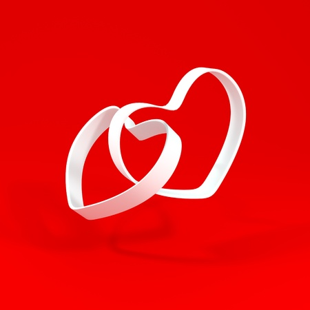 Two hearts on a red background. Stock 3D image photo