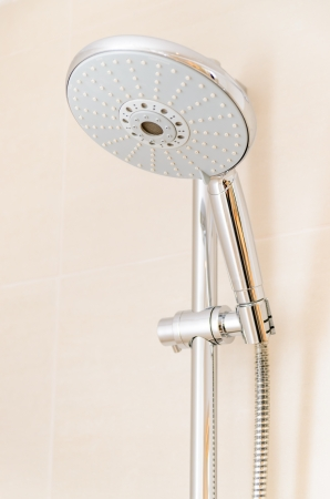 shower head: Round spray shower. Photo Close-up