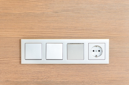 Several turn off lights and sockets. Photo Close-up Stock Photo