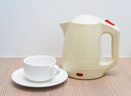Tea cups and kettle. Photo Close-up Stock Photo