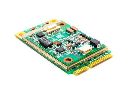 Miniature electronic circuit. The photo on the white background