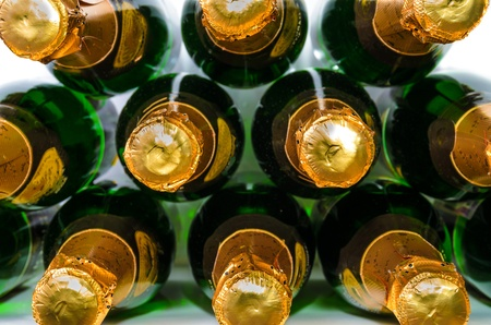 Many bottles of champagne Close-up