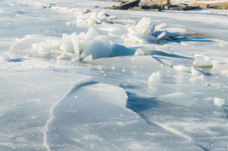 Fragments of ice frozen sea. Photo Close-up Stock Photo - 17127867