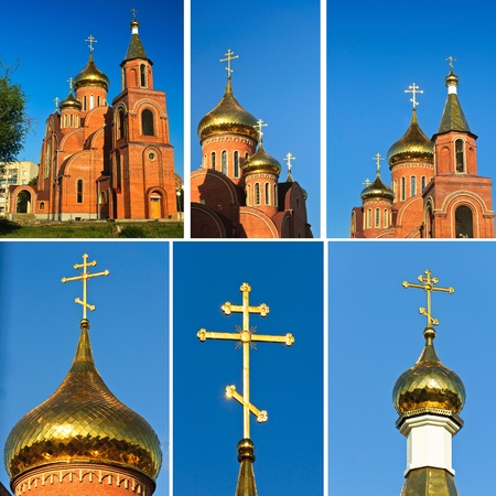 The church against the blue sky. Summer blue sky Orthodox Church photo