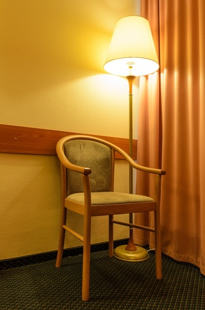 Chair and a floor lamp. Photo Close-up photo