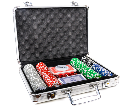 Aluminum suitcase for poker. Microstock photography for over a white background photo