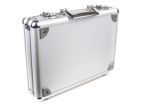 The aluminum carrying case. Microstock photography for over a white background photo