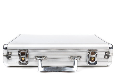 The aluminum carrying case. Microstock photography for over a white background Standard-Bild